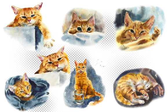 Watercolor Red Cats Graphic Illustrations By Мария Кутузова - Image 2