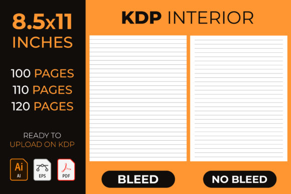 KDP Interior, Lined Journal Notebook Graphic KDP Interiors By medelwardi