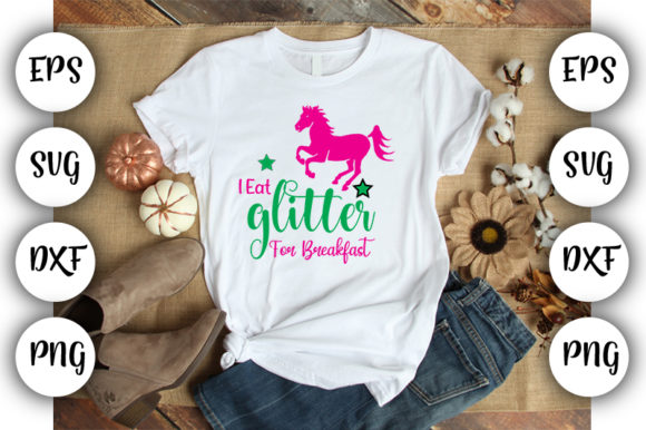 Print on Demand: Unicorn Quotes Design: I Eat Glitter for Graphic Print Templates By Design_store