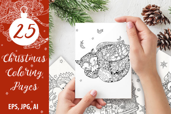 25 Christmas Adult Coloring Pages Graphic