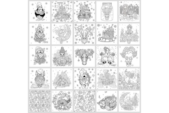 25 Christmas Adult Coloring Pages Graphic Download