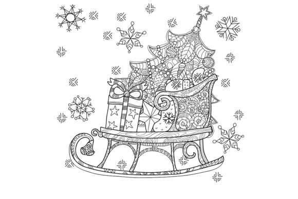 25 Christmas Adult Coloring Pages Graphic Item