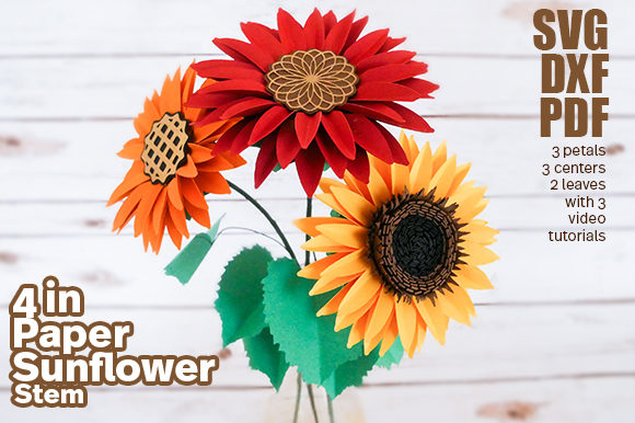Paper Sunflower Stem Template Graphic 3D Flowers By Deaney Weaney Blooms