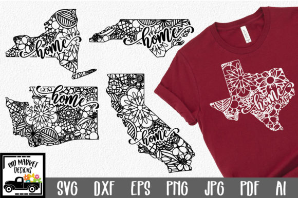 Print on Demand: 50 States Home Mandala Bundle Grafik Plotterdateien von oldmarketdesigns