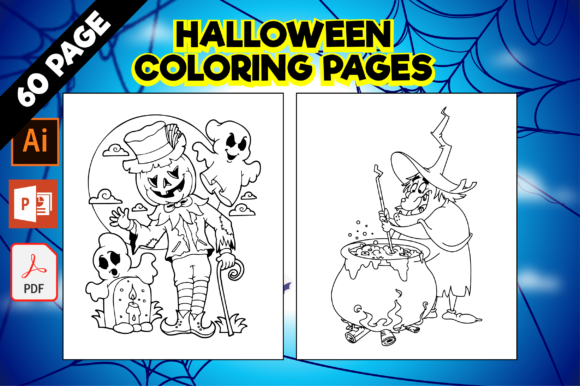Print on Demand: 60 Halloween Coloring Pages for Kids Gráfico Coloring Pages & Books Kids Por MK DESIGNS