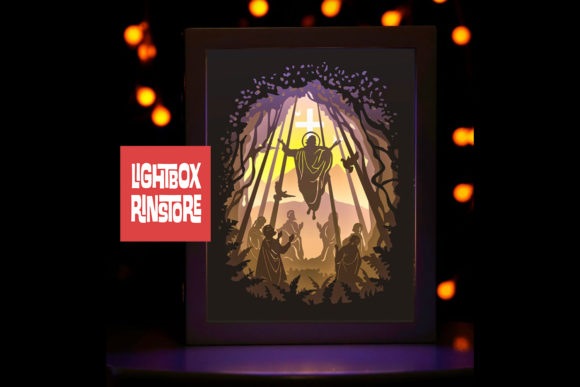Ascension Day 3D Paper Cut Lightbox Graphic 3D Shadow Box By lightbox.rinstore