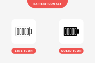 Print on Demand: Battery Icon Set, Line and Solid Style Graphic Icons By nunungperdana