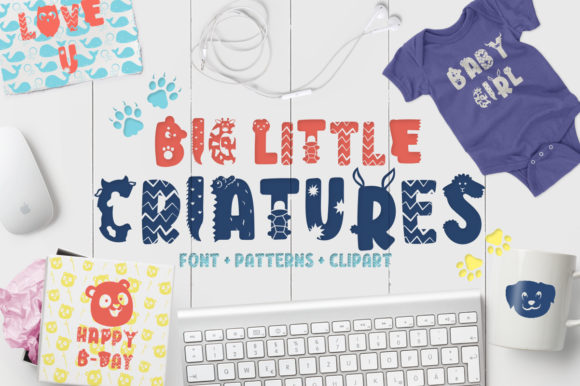 Print on Demand: Big Little Creatures Display Font By arausidp