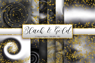 Black Ombre Gold Glitter Background Graphic Backgrounds By PinkPearly
