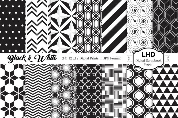 Black & White Digital Papers Graphic Patterns By LeskaHamatyDesign