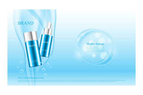 Blue Water Pouring Concept for Cosmetic Graphic Illustrations By nhongrand