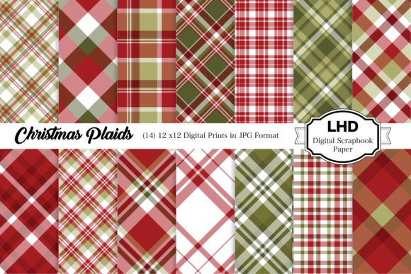 Christmas Plaids Digital Papers Graphic Patterns By LeskaHamatyDesign