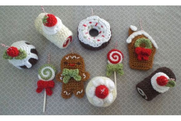 Christmas Sweets Ornament Pattern Set Graphic Crochet Patterns By Amy Gaines Amigurumi Patterns - Image 1