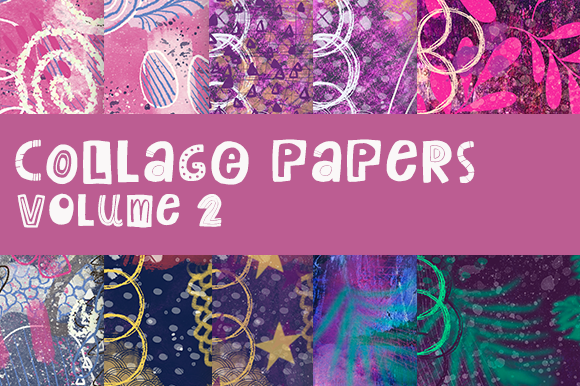 Collage Papers Volume 2 Graphic Backgrounds By Thistle Fairy Studio