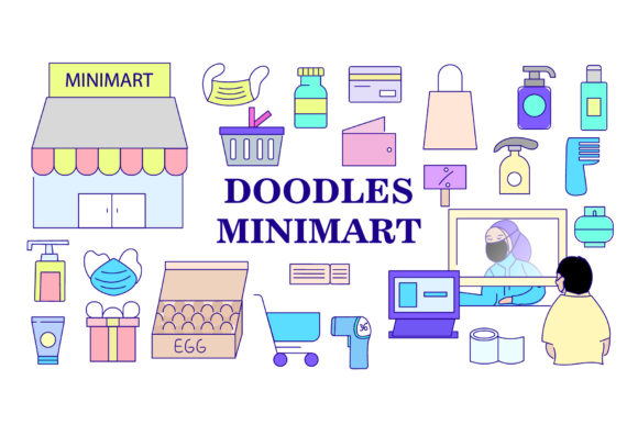 Doodle New Normal Minimart Bundles Graphic Objects By griyolabs