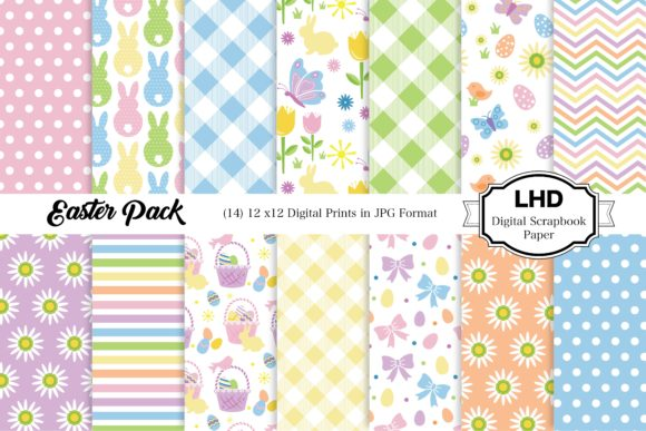 Easter Pack Digital Papers Graphic Patterns By LeskaHamatyDesign