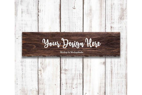 Print on Demand: Farmhouse Brown Wood Sign Mock Up  Graphic Backgrounds By Mockup Station
