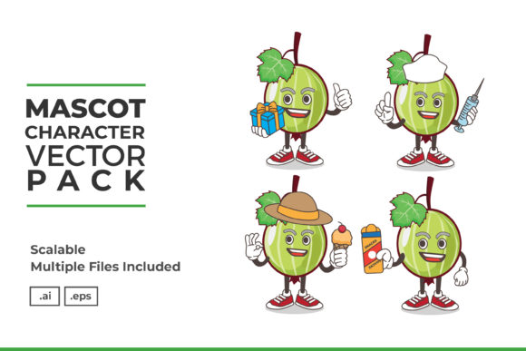 Print on Demand: Gooseberry Fruit Mascot Character Vector Graphic Icons By dendysign