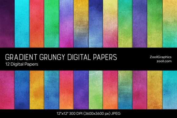 Gradient Grungy Texture Digital Papers Graphic Textures By ZoollGraphics
