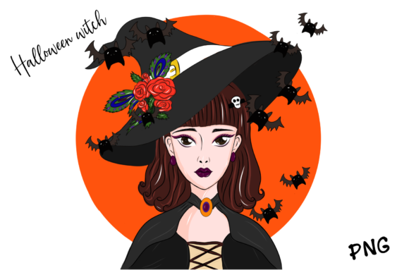 Print on Demand: Halloween Beautiful Witch Graphic Illustrations By Suda Digital Art