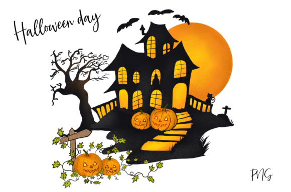Print on Demand: Halloween Pumpkins House Gráfico Ilustraciones Por Suda Digital Art