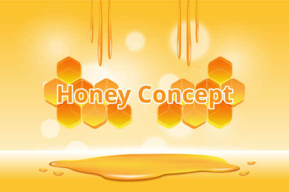 Honey Cosmetics Product and Honeycomb Graphic Illustrations By nhongrand