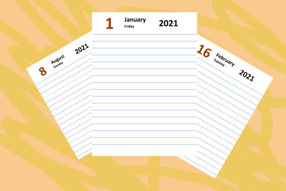 Print on Demand: KDP Interior, 2021 Diary All Date Pages Graphic KDP Interiors By Designs_by_Shorty