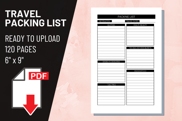 Print on Demand: KDP Interior Travel Packing List Graphic KDP Interiors By atlasart