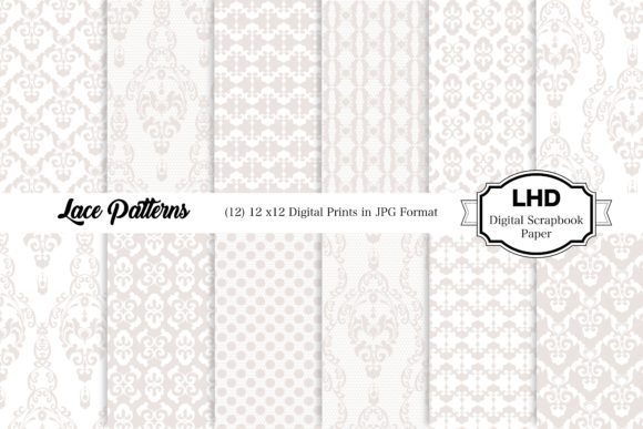 Lace Patterns - White Digital Papers Graphic Patterns By LeskaHamatyDesign
