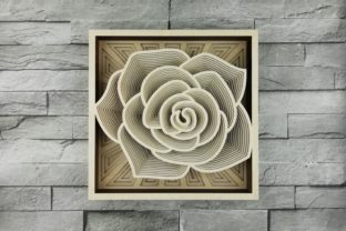 Print on Demand: Layered Mandala, Cut File, 3D Rose Grafik Produktmodelle von vectormarket