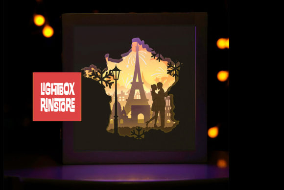 Love in France 3D Paper Cut Lightbox Graphic 3D Shadow Box By lightbox.rinstore - Image 1