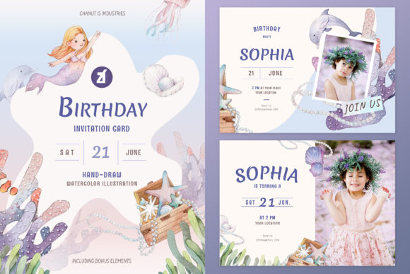 Mermaid Theme Birthday Invitation Card Graphic Print Templates By Chanut is watercolor