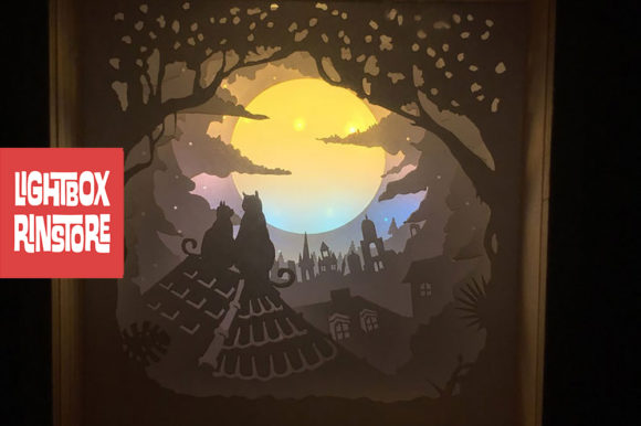 Moon Cats 3D Paper Cut Light Box Graphic 3D Shadow Box By lightbox.rinstore
