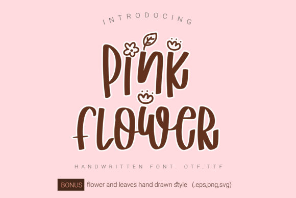 Print on Demand: Pink Flower Script & Handwritten Font By artdee2554