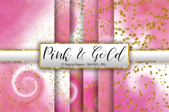 Pink Ombre Gold Glitter Background Graphic Backgrounds By PinkPearly