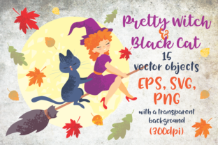 Print on Demand: Pretty Witch and Black Cat Halloween Graphic Illustrations By Olga Belova