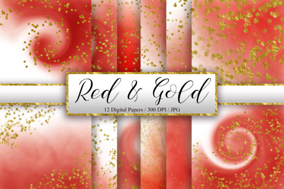 Red Ombre Gold Glitter Background Graphic Backgrounds By PinkPearly