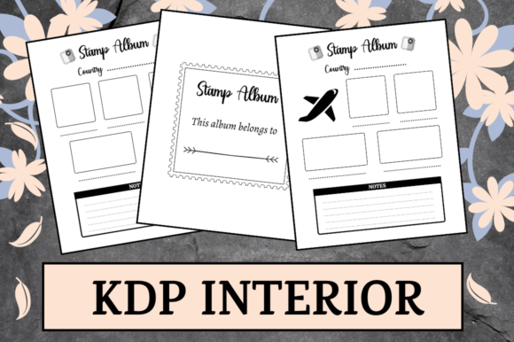 Print on Demand: Stamp Album | KDP Interior Graphic KDP Interiors By Hungry Puppy Studio