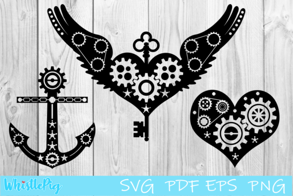 Print on Demand: Steampunk Bundle Heart Anchor Wings Graphic Crafts By Whistlepig Designs