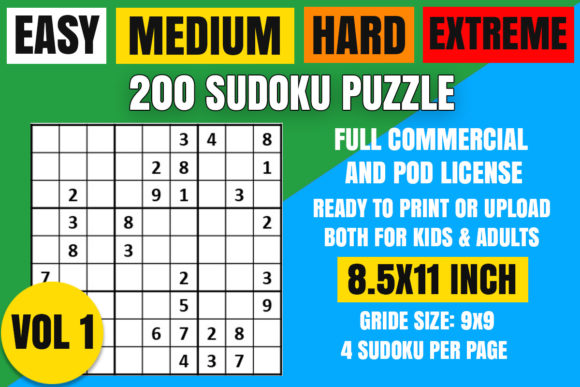 Print on Demand: Sudoku Puzzle 200 EASY MEDIUM HARD VL 1 Graphic Coloring Pages & Books Adults By Creative_Design