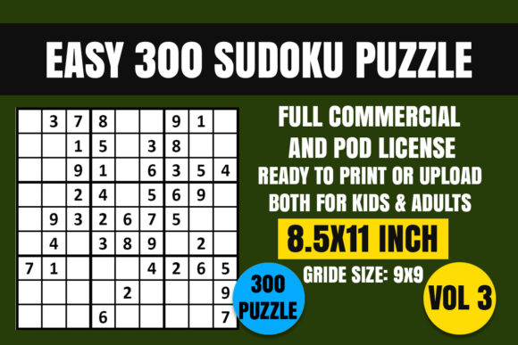 Print on Demand: Sudoku Puzzle Book Easy 300 Vol. 3 Graphic Coloring Pages & Books Adults By Creative_Design