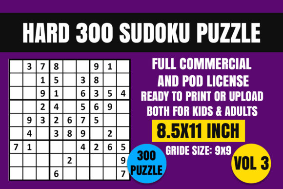 Print on Demand: Sudoku Puzzle Book Hard 300 Vol. 3 Graphic Coloring Pages & Books Adults By Creative_Design