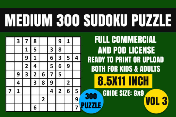 Print on Demand: Sudoku Puzzle Book Medium 300 Vol. 3 Graphic Coloring Pages & Books Adults By Creative_Design