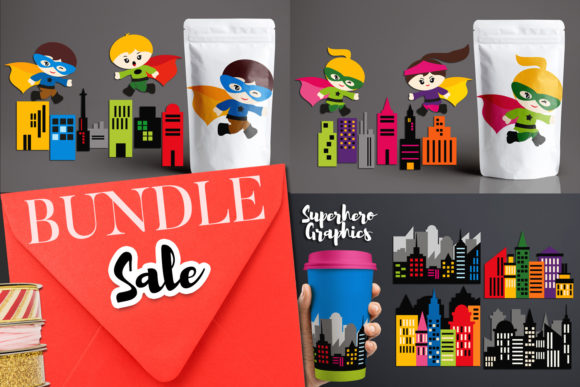 Print on Demand: Superhero Buildings Bundle Graphic Illustrations By Revidevi