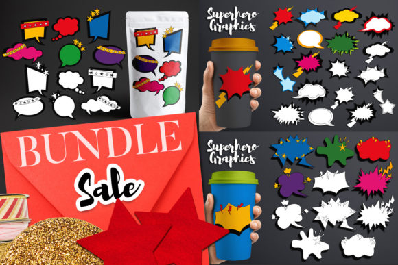 Print on Demand: Superhero Talk Bubbles Bundle Gráfico Ilustraciones Por Revidevi
