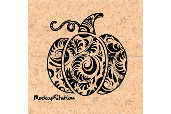 Print on Demand: Swirly Pumpkin Floral Lace Mandala Graphic Objects By Mockup Station