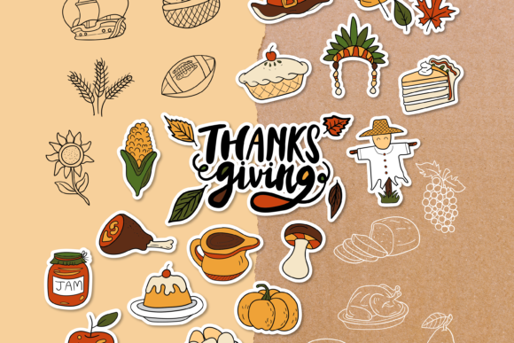 Thanksgiving Doodle Clipart - 4 Styles Graphic Objects By WADLEN