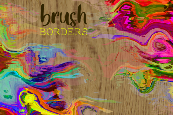 Print on Demand: Watercolor Brush Stroke Page Borders Graphic Backgrounds By Prawny