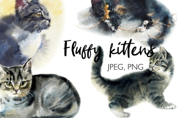 Watercolor Fluffy Cute Kittens Graphic Illustrations By Мария Кутузова