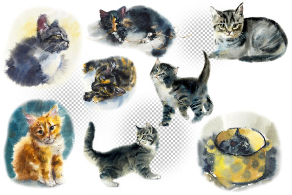 Watercolor Fluffy Cute Kittens Graphic Illustrations By Мария Кутузова - Image 2